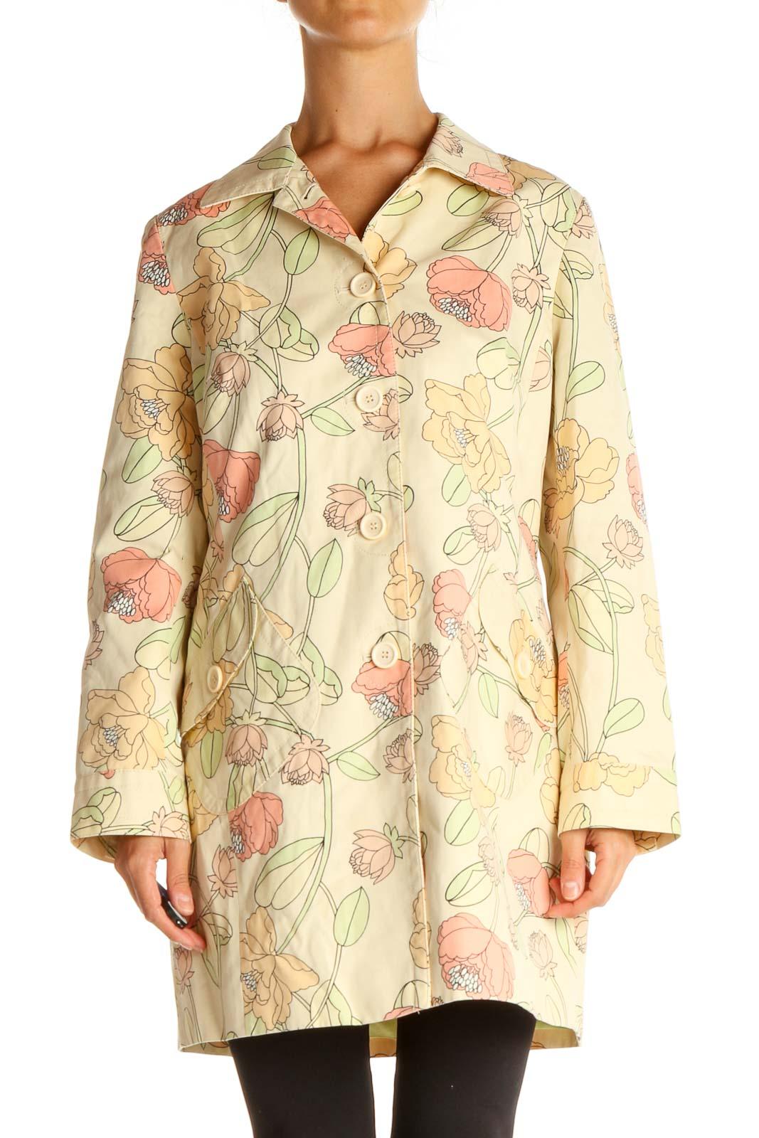 Beige Floral Overcoat Front
