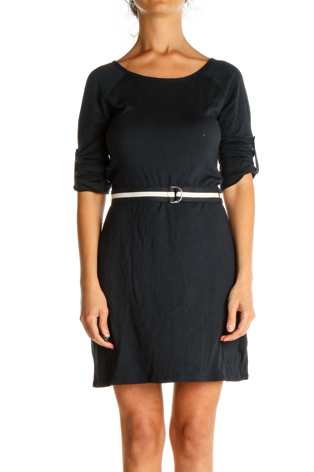Blue Solid Day Sheath Dress Front