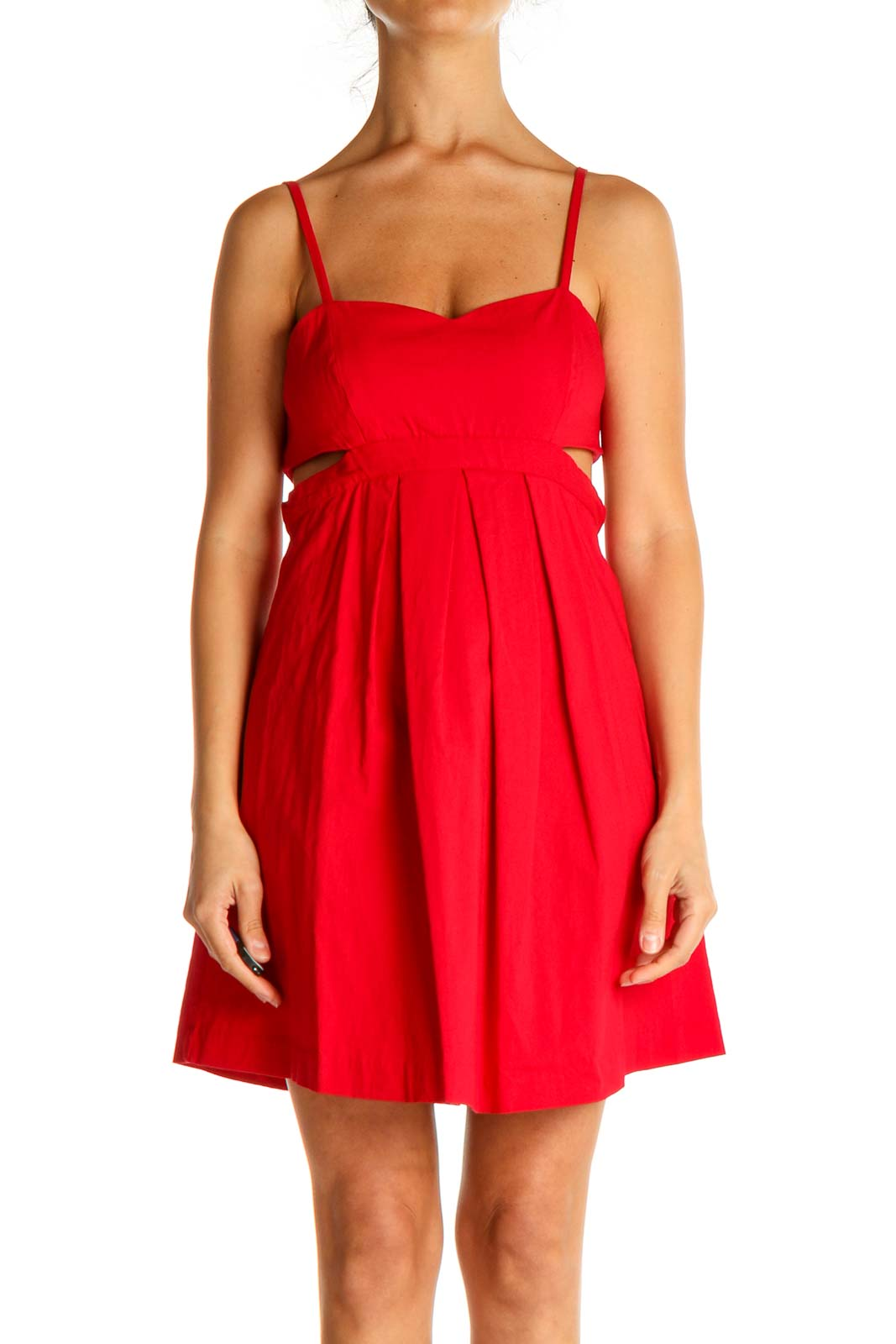 Red Solid Cocktail Fit & Flare Dress Front