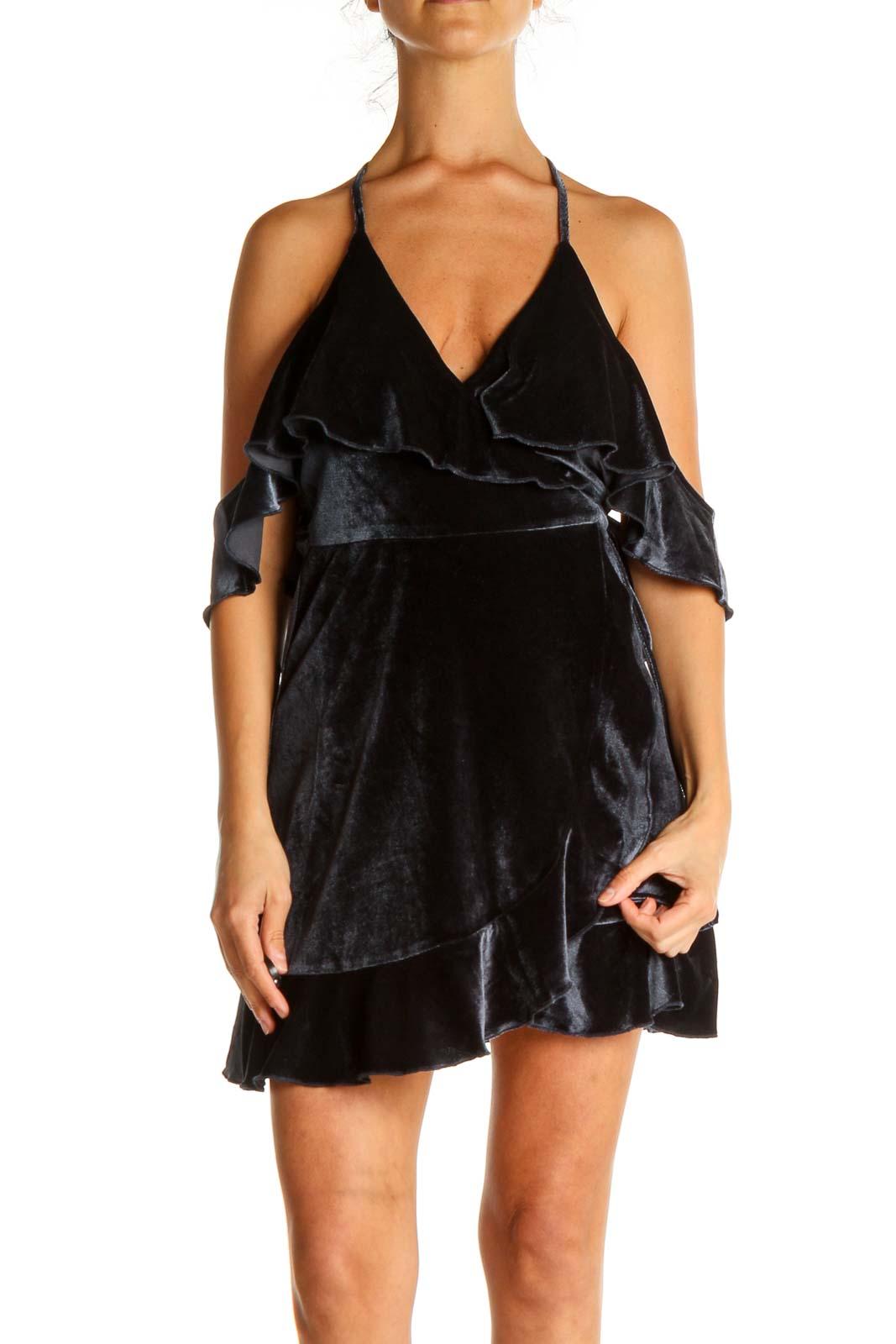 Blue Textured Dress Front