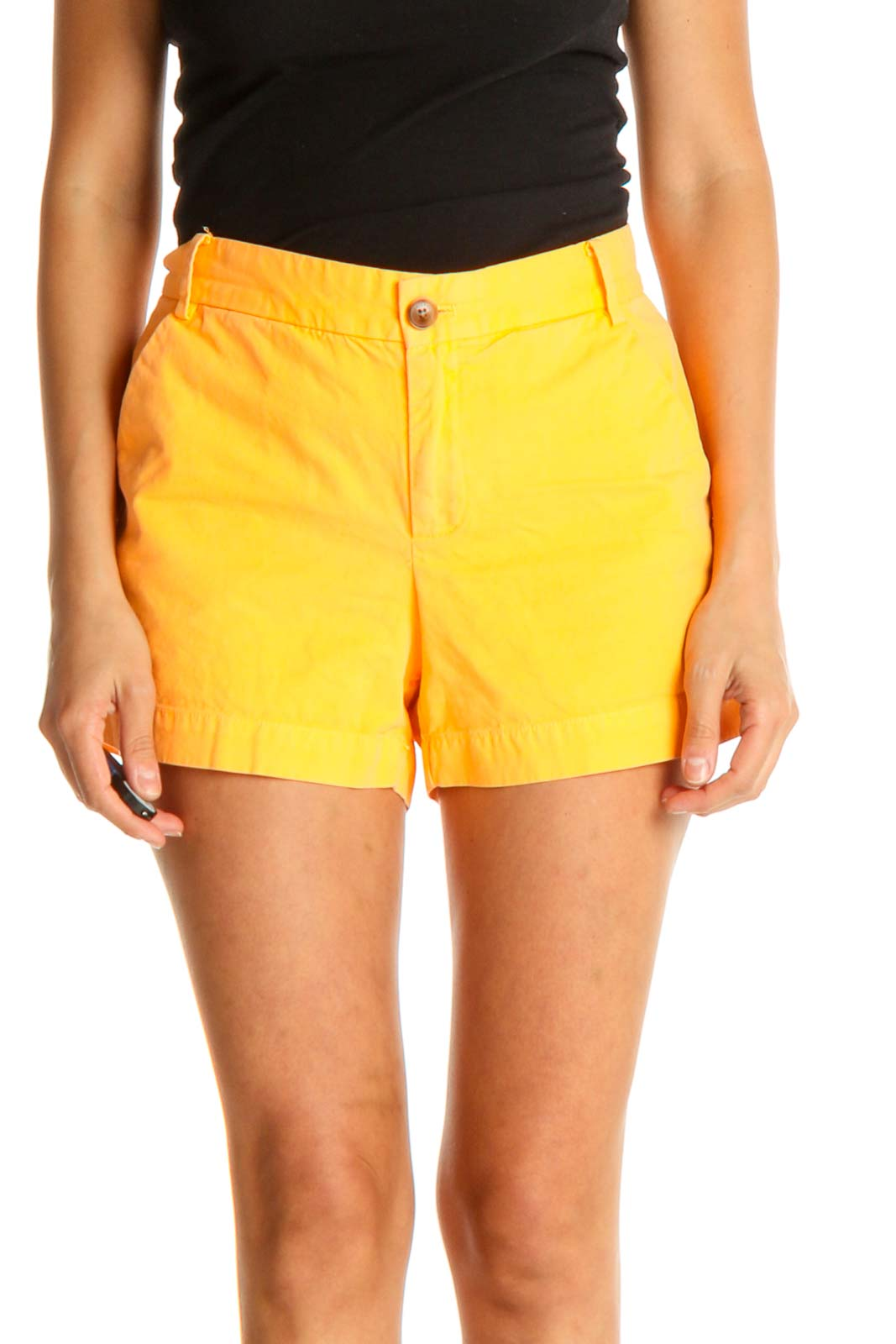 Yellow Solid All Day Wear Shorts Front