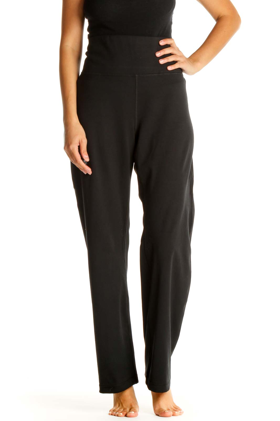 Black Solid Classic Yoga Pants Front