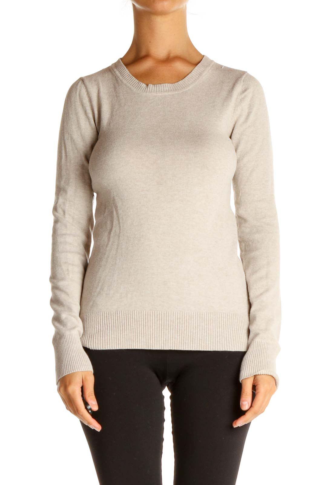 Beige Solid Classic Sweater Front