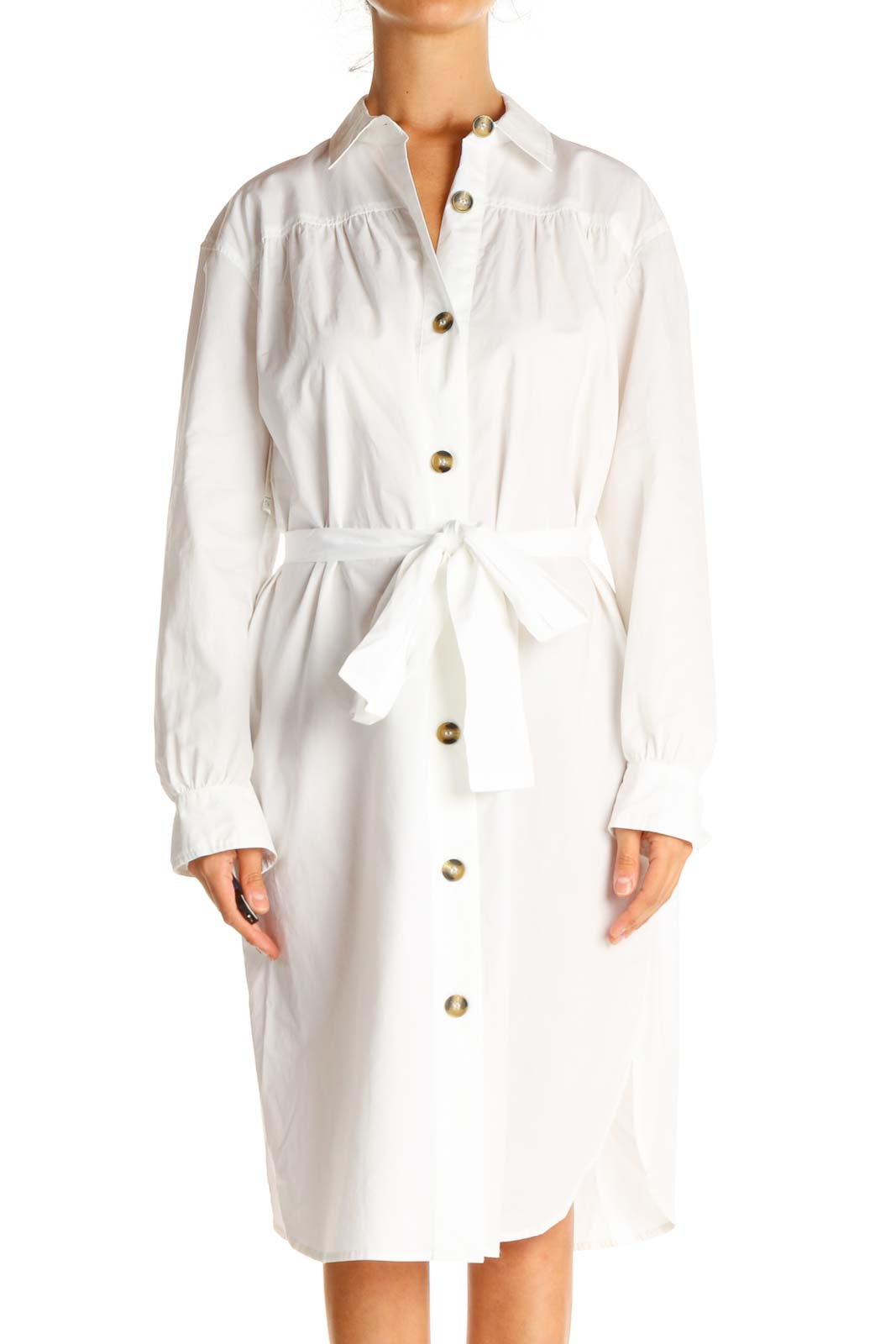 White Solid Work Sheath Dress Front