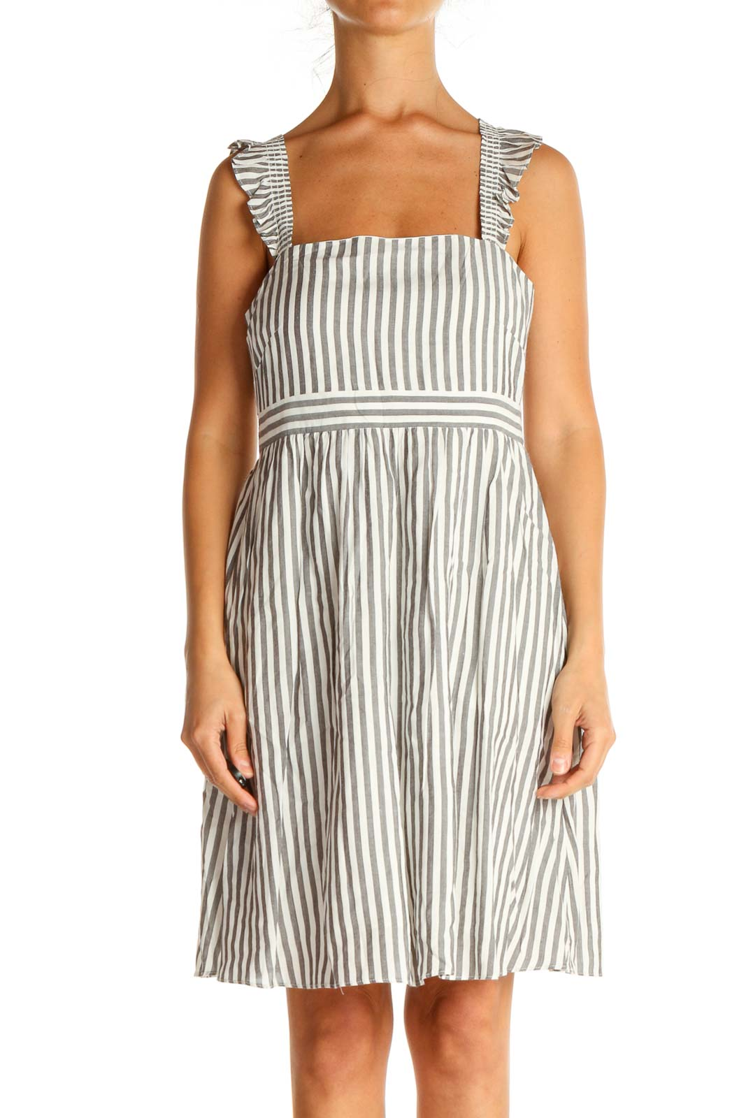 Gray Striped Classic Fit & Flare Dress Front