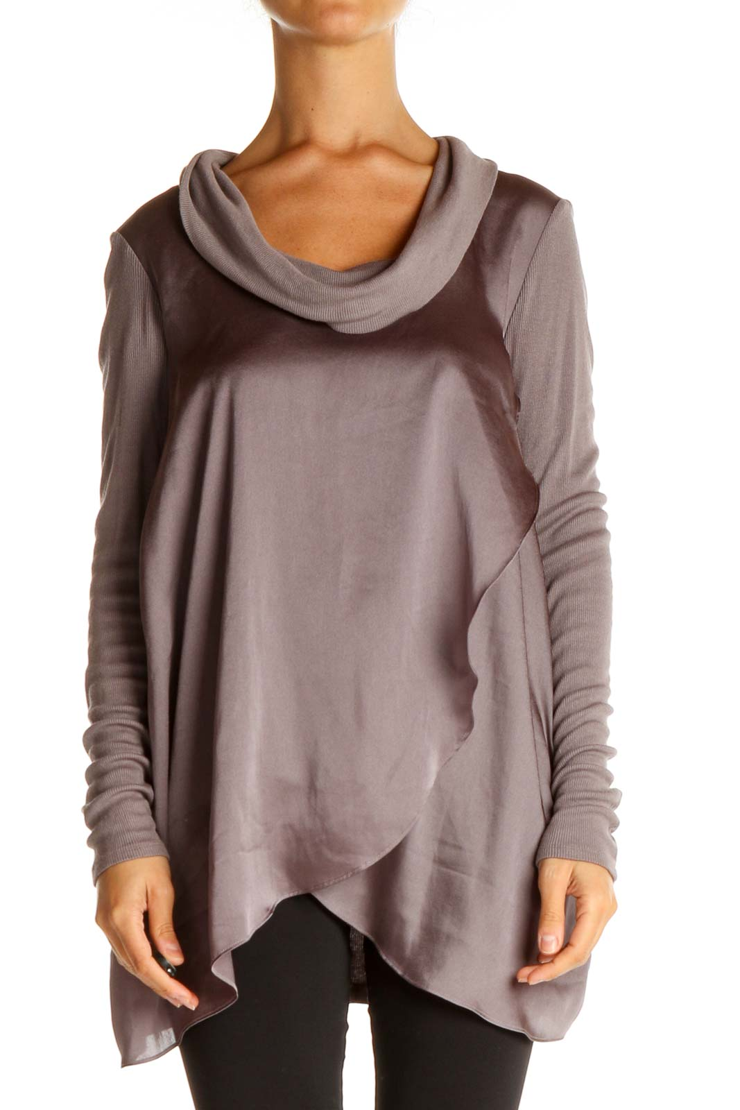 Gray Solid Classic T-Shirt Front