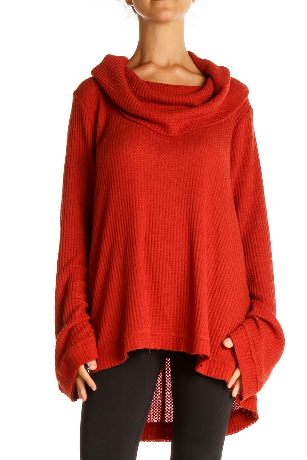 Red Solid Classic Sweater Front