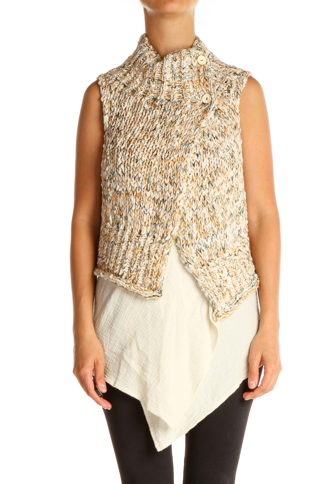 Beige Sweater Casual Top Front