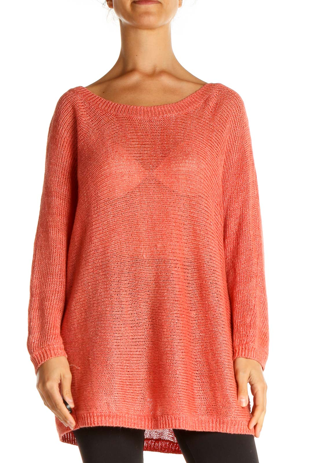 Pink Textured All Day Wear Sweater Front