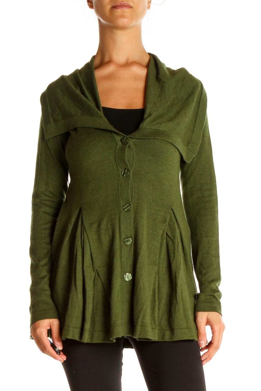 Green Cardigan Front