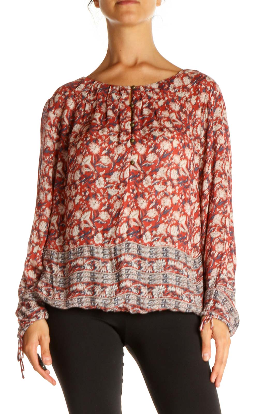 Red Floral Print Retro Blouse Front