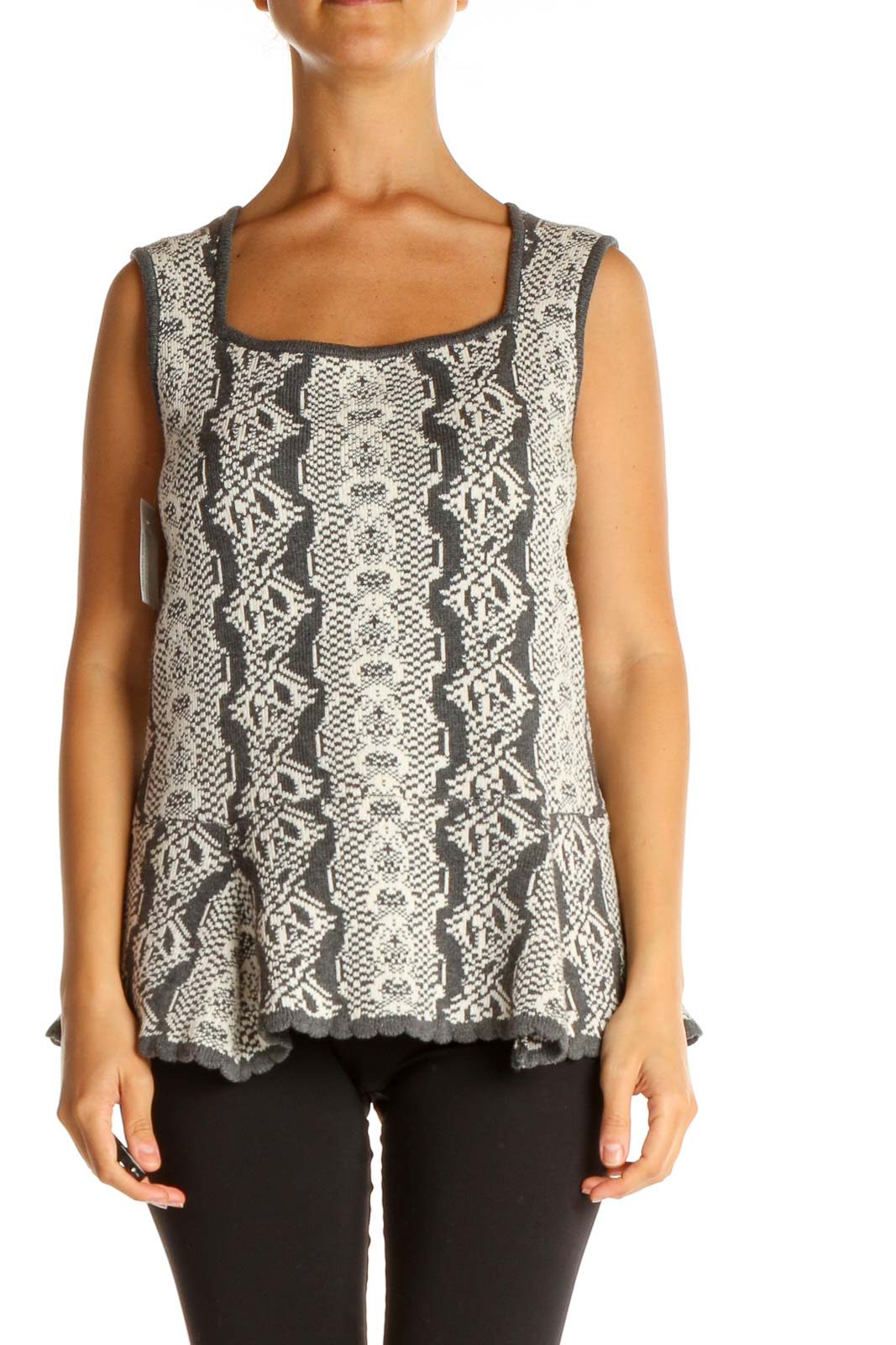 Gray Paisley Brunch Tank Top Front