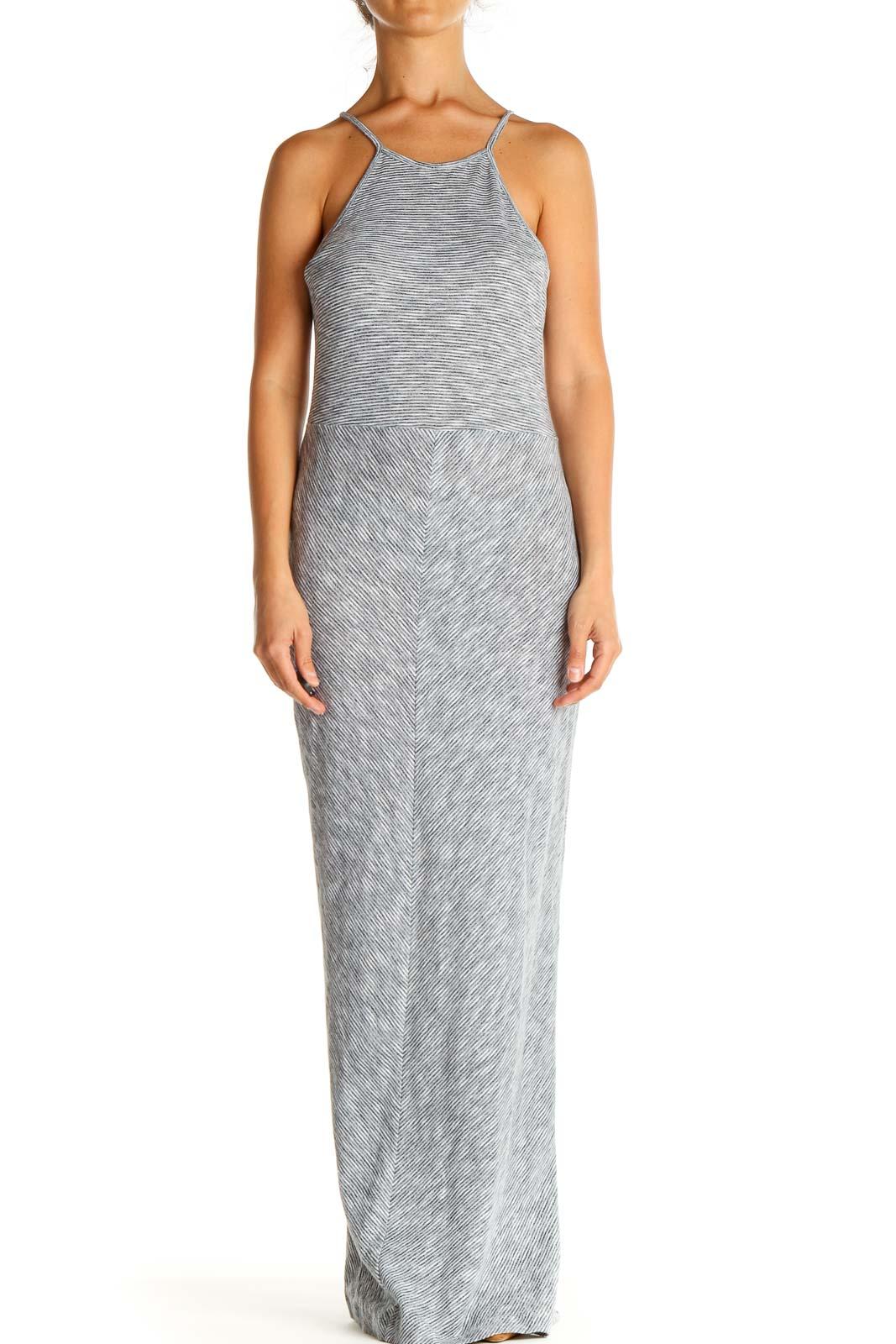 Gray Textured Classic Column Dress Front