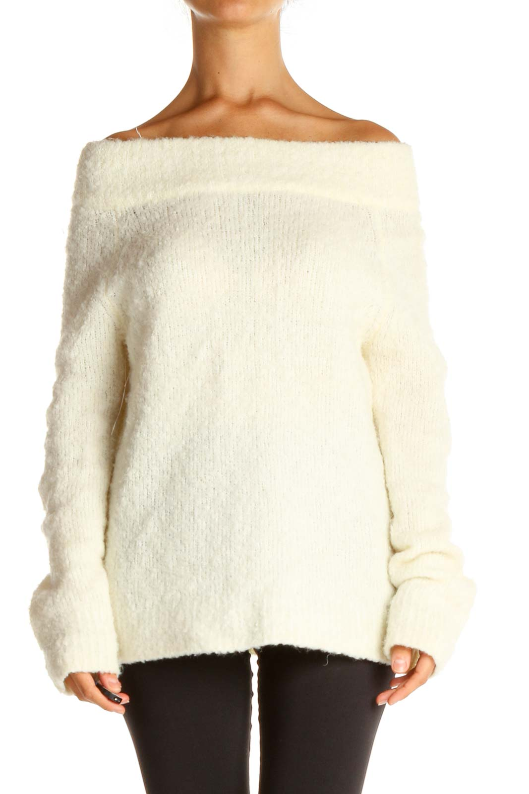 White Casual Sweater Front