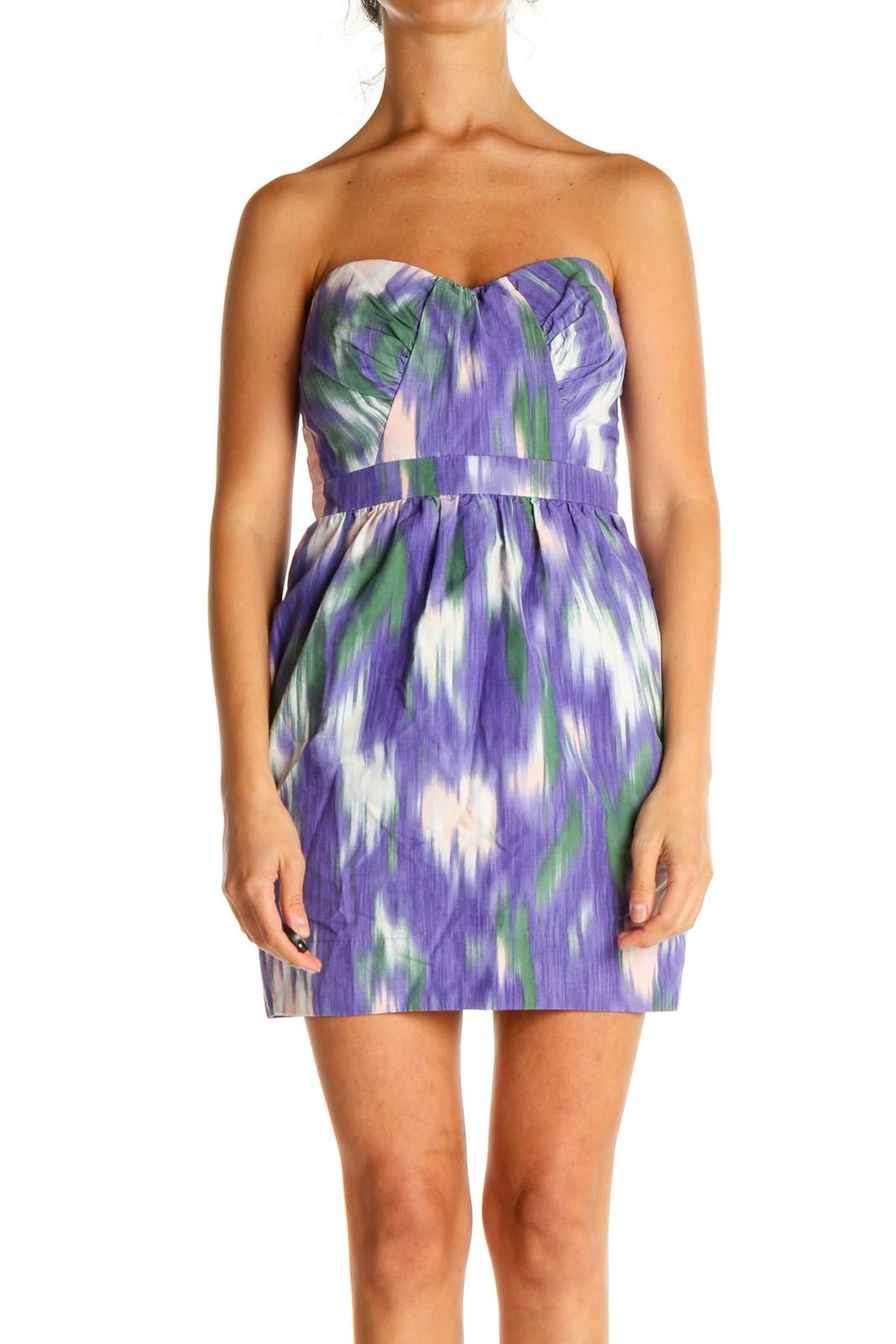 Purple Tie And Dye Day Sheath Dress Front