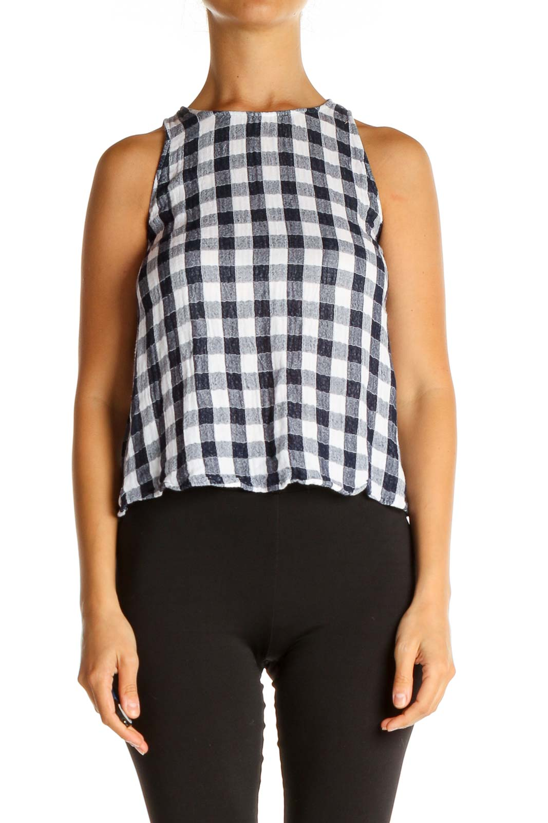 Blue Checkered Bohemian Top Front