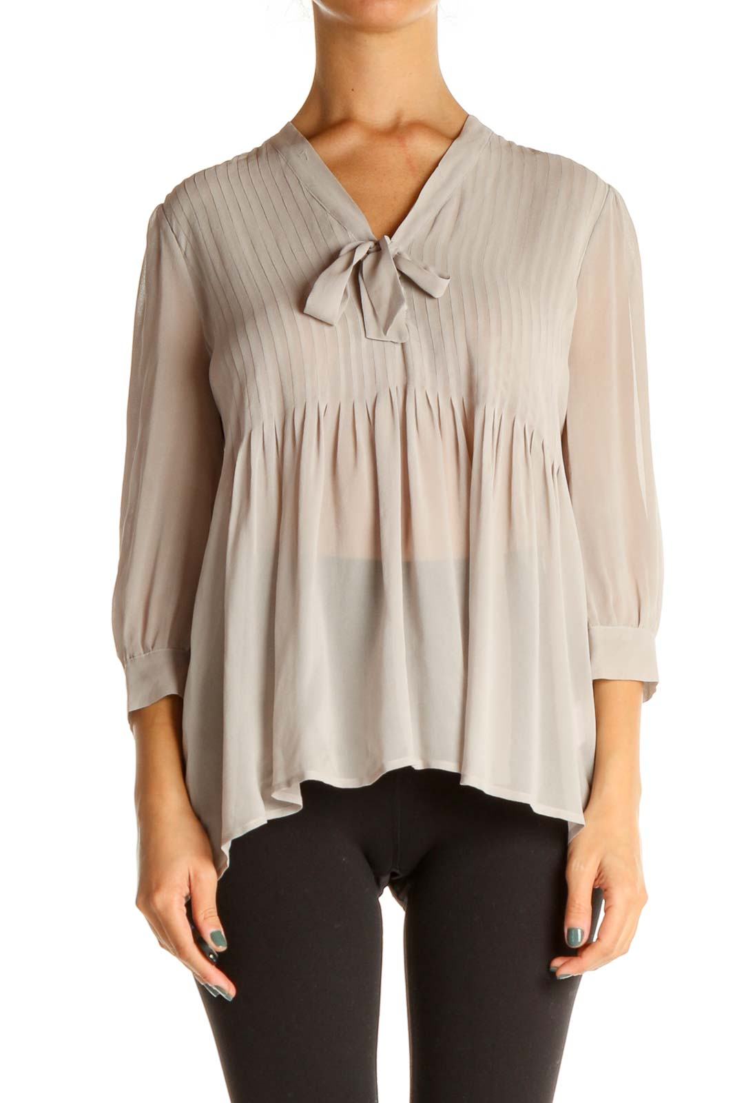 Gray Solid Brunch Blouse Front