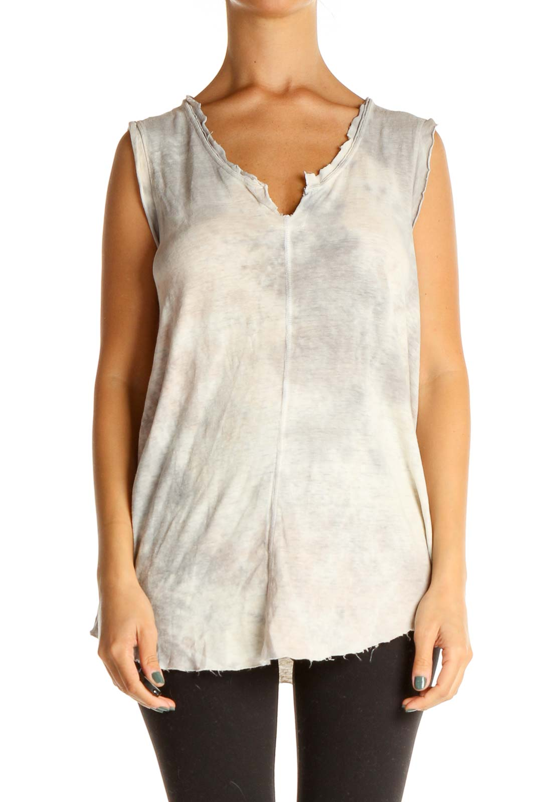 Gray Tie And Dye Chic Tank Top Front