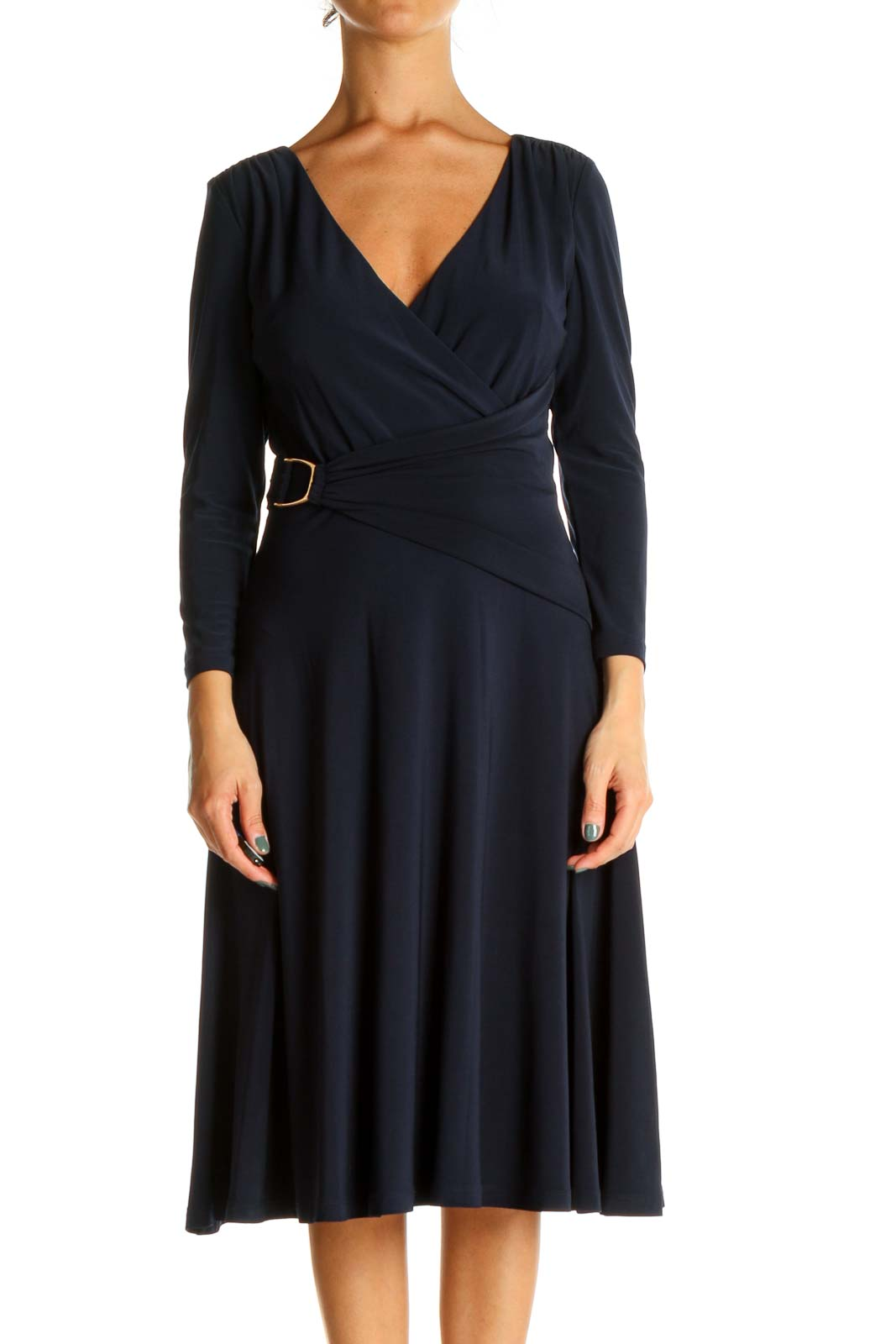 Blue Solid Day Fit & Flare Dress Front