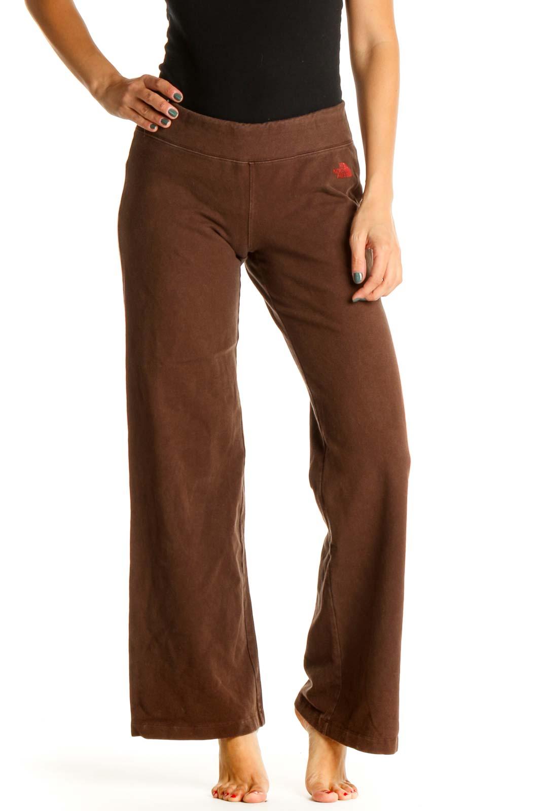 Brown Solid Activewear Sweatpants Front