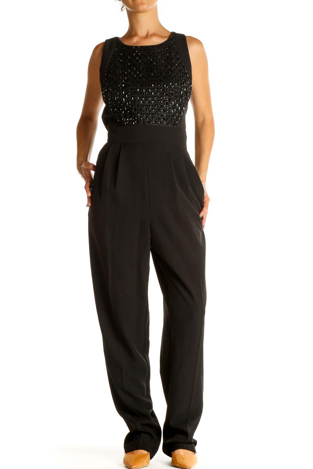 Black Sequin Jumpsuit Front