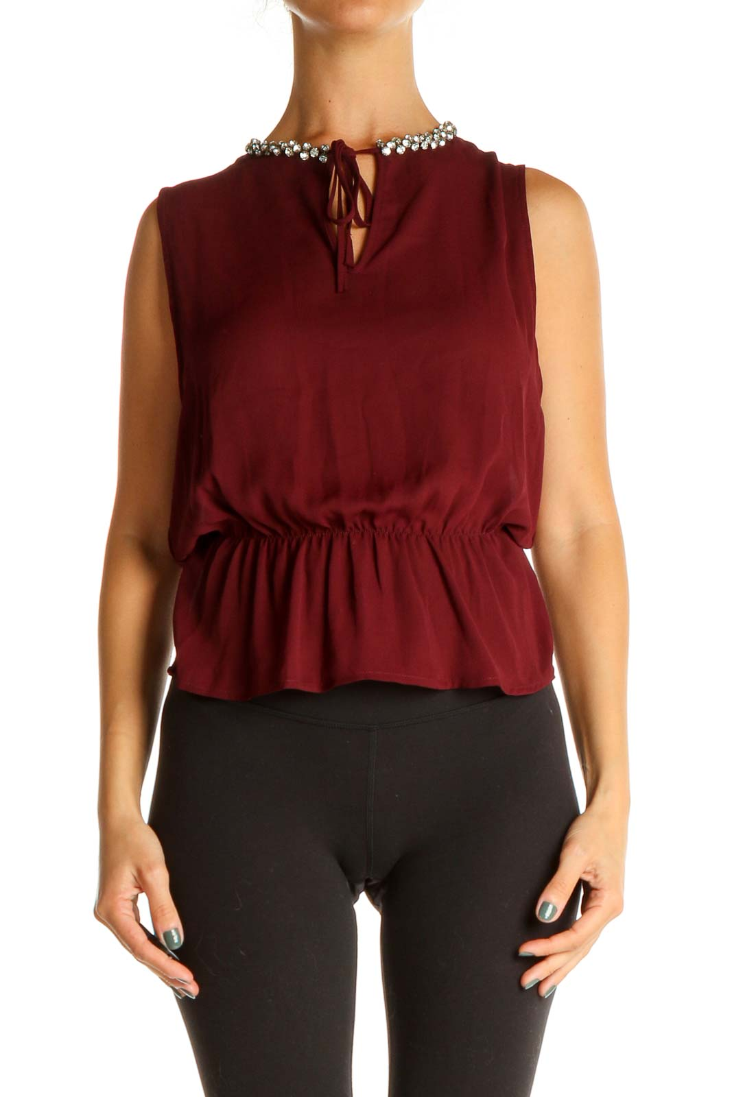 Red Sequin Chic Blouse Front