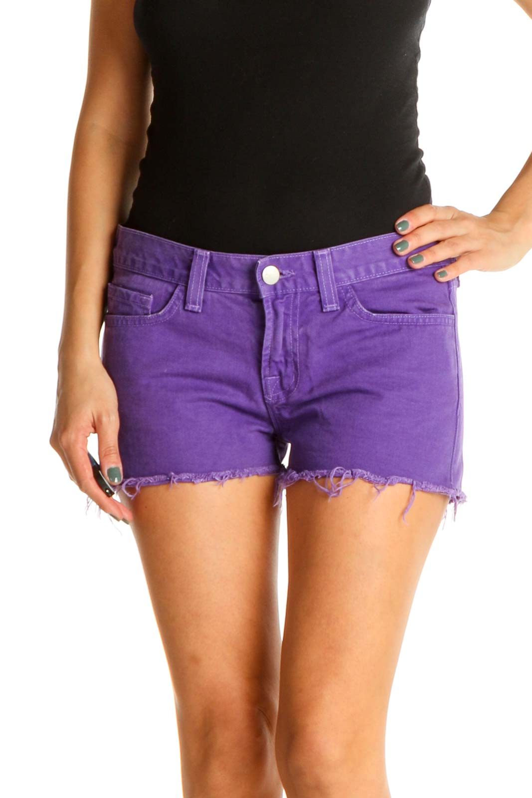 Purple Casual Shorts Front
