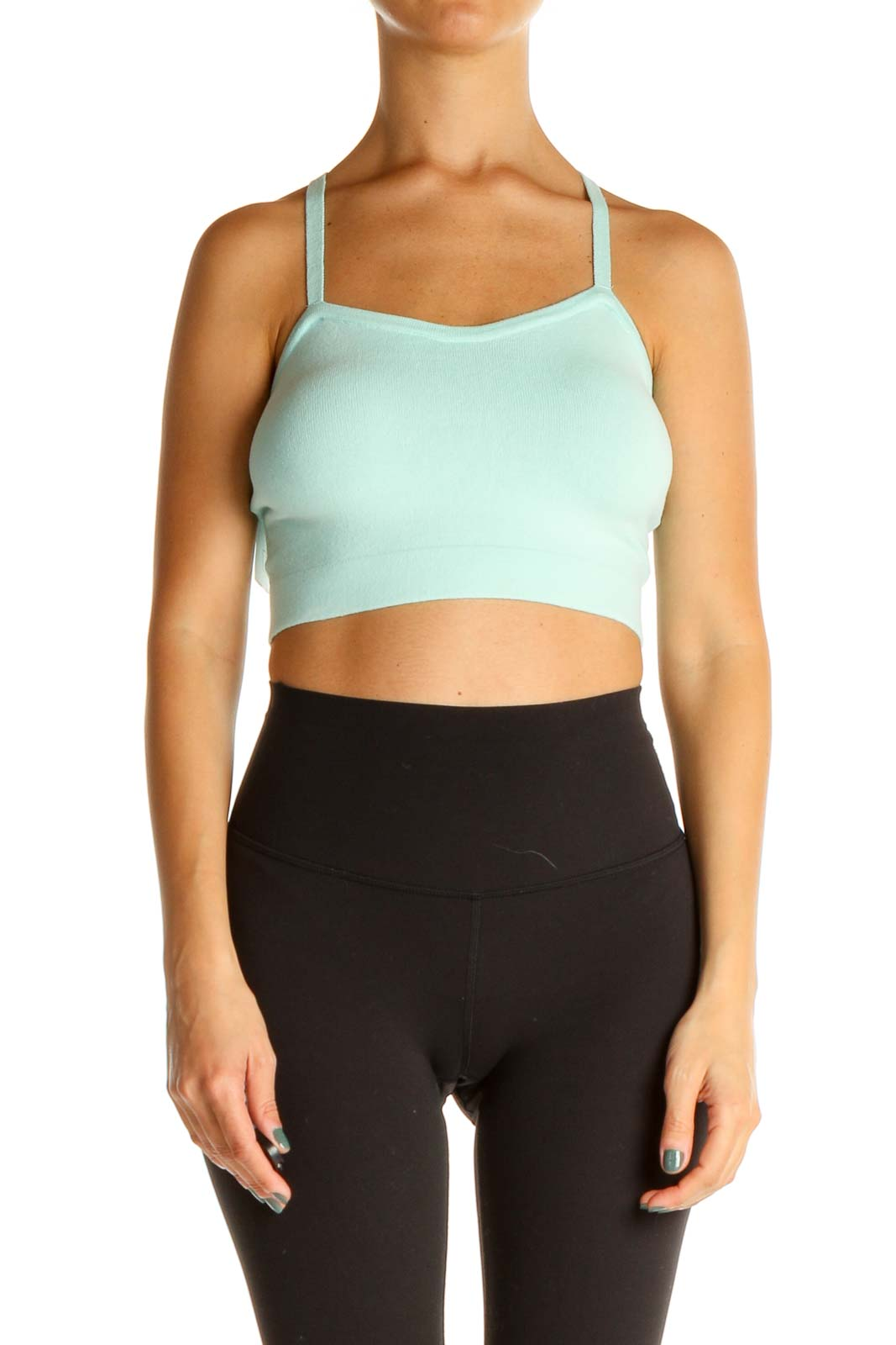 Blue Solid Casual Crop Top Front
