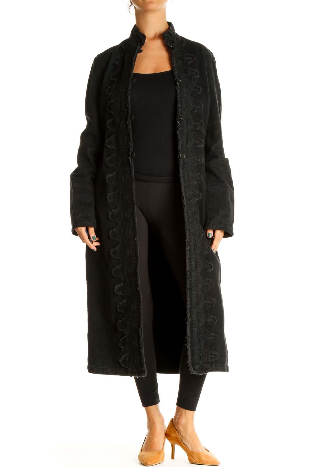 Black Denim Coat Front
