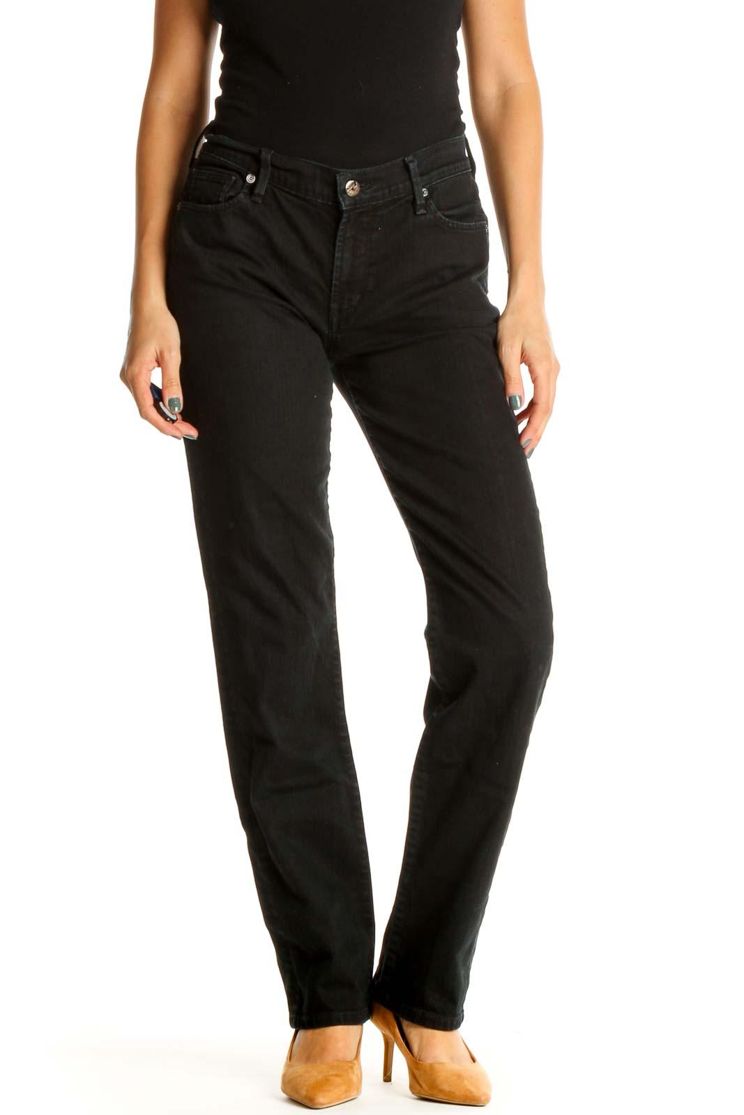 Black Straight Leg Jeans Front
