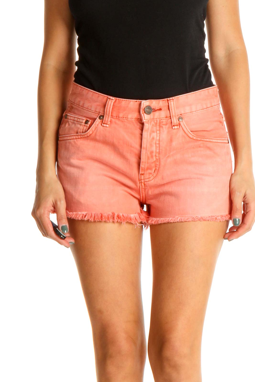 Orange Casual Shorts Front