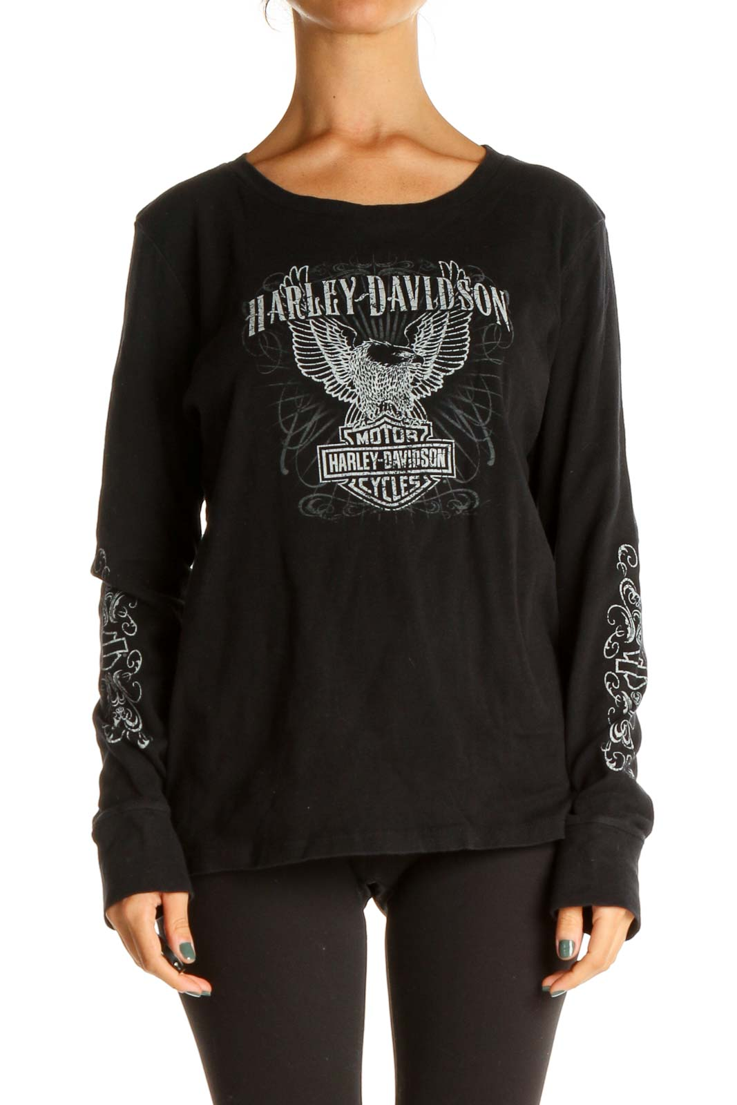 Black Printed Casual Top Front