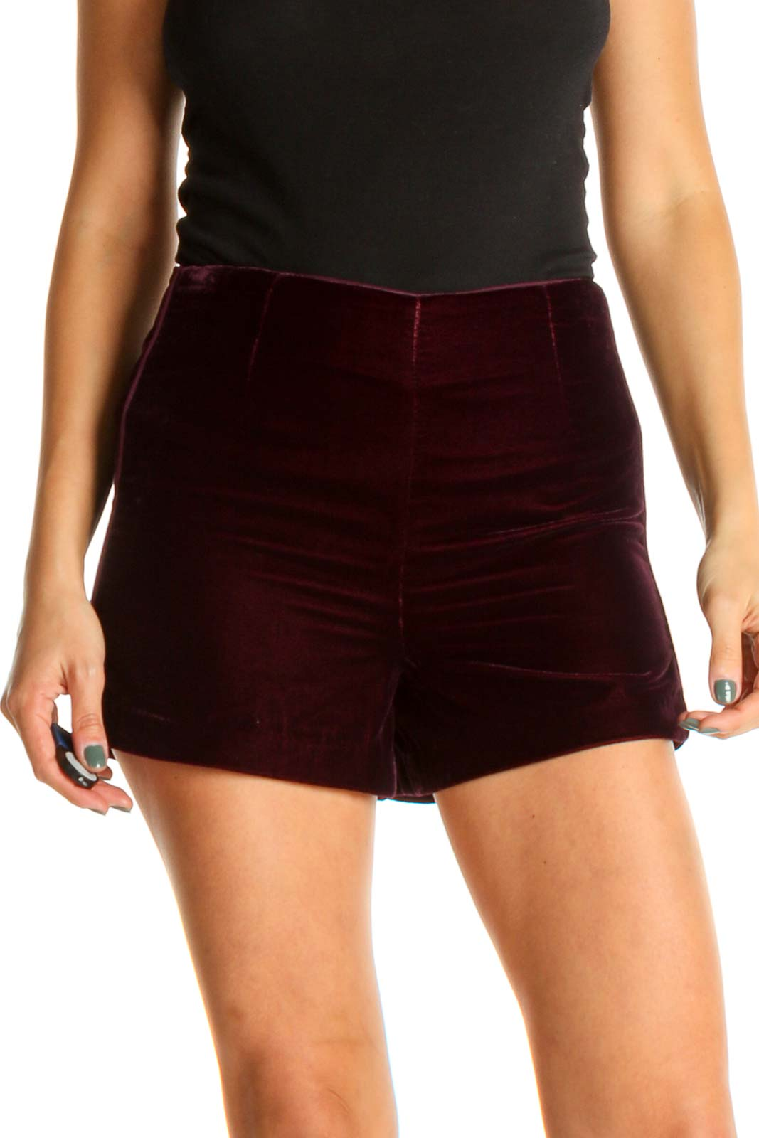 Purple Solid Velour Bohemian Shorts Front
