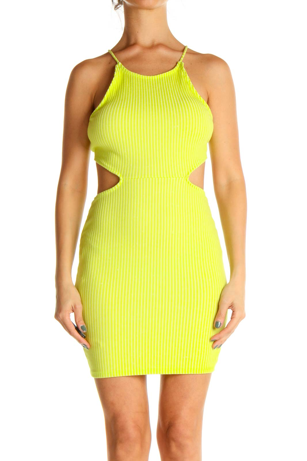 Yellow Solid Cocktail Sheath Dress Front