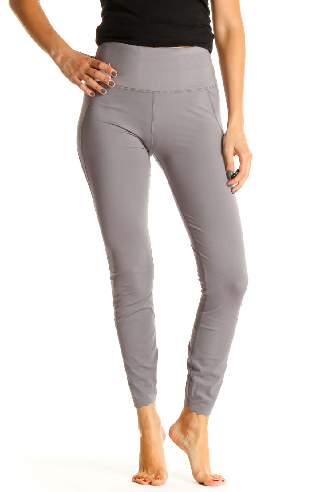 Gray Purple Activewear Leggings Front