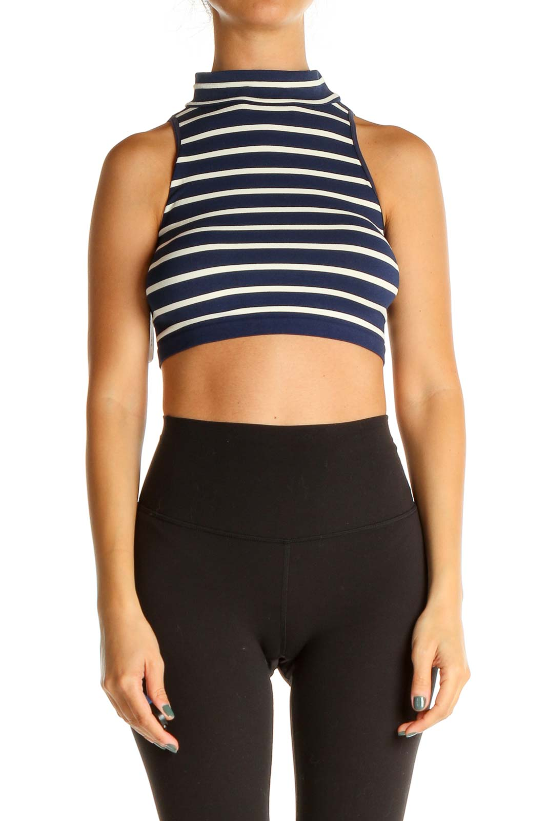 Blue Striped Crop Top Front