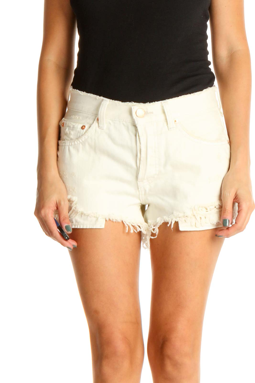 White Casual Shorts Front