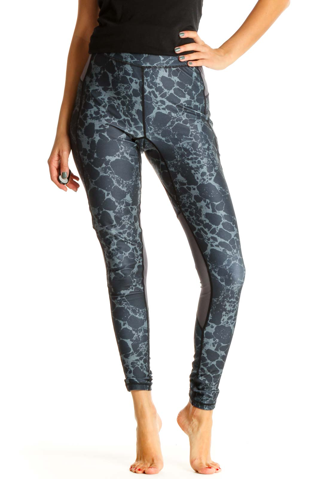 Gray Tie And Dye Activewear Leggings Front
