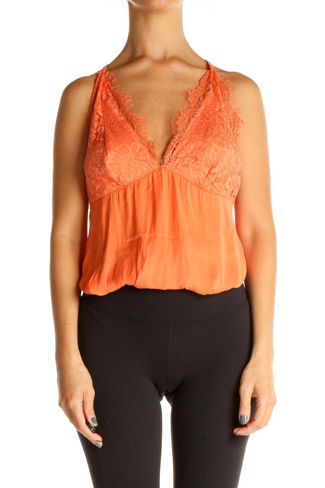 Orange Lace Bohemian Bodysuit Front