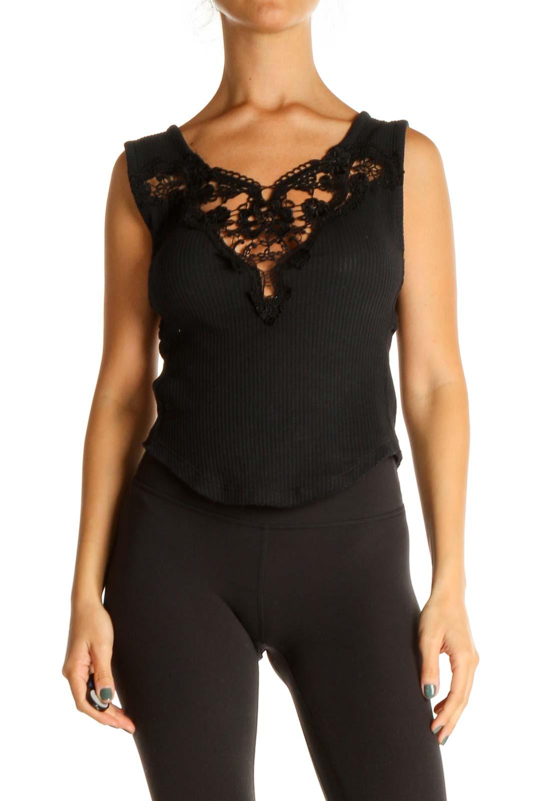 Black Lace Blouse Front