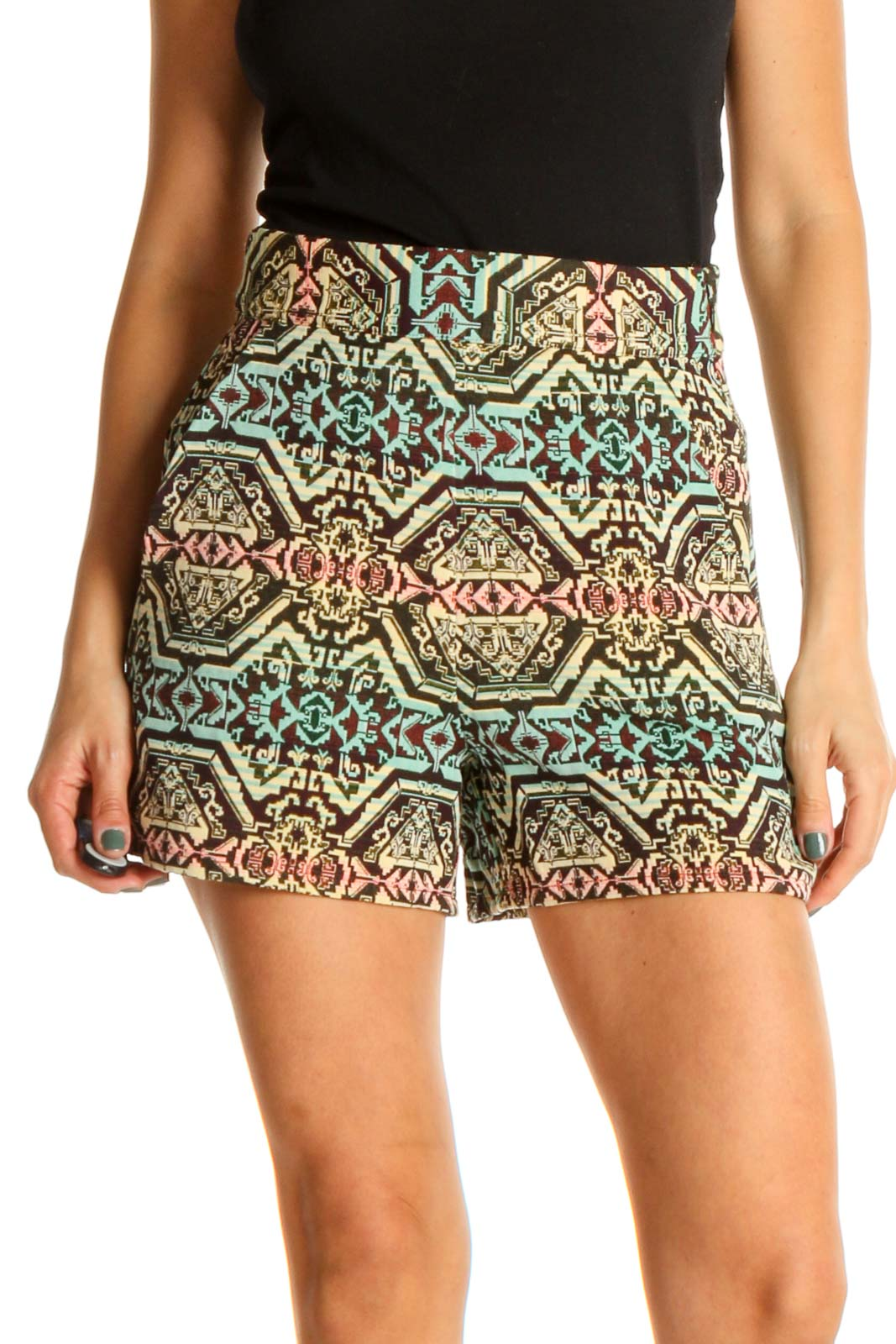 Beige Geometric Print Bohemian Shorts Front