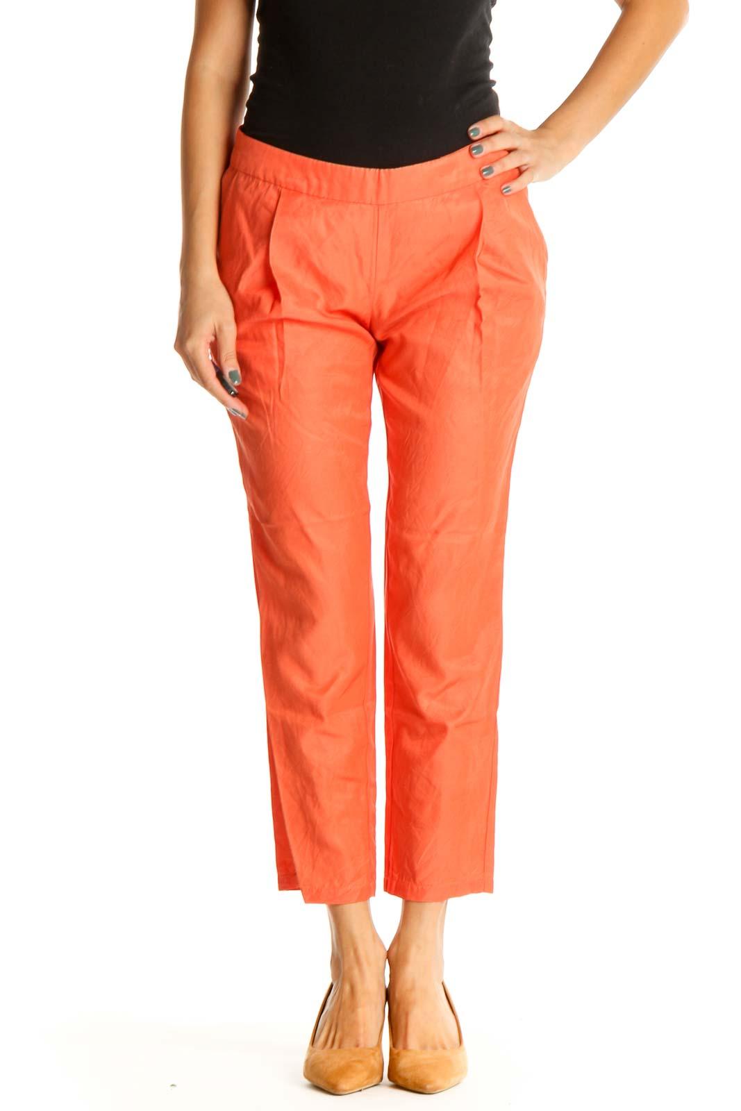 Orange Solid Casual Capri Pants Front