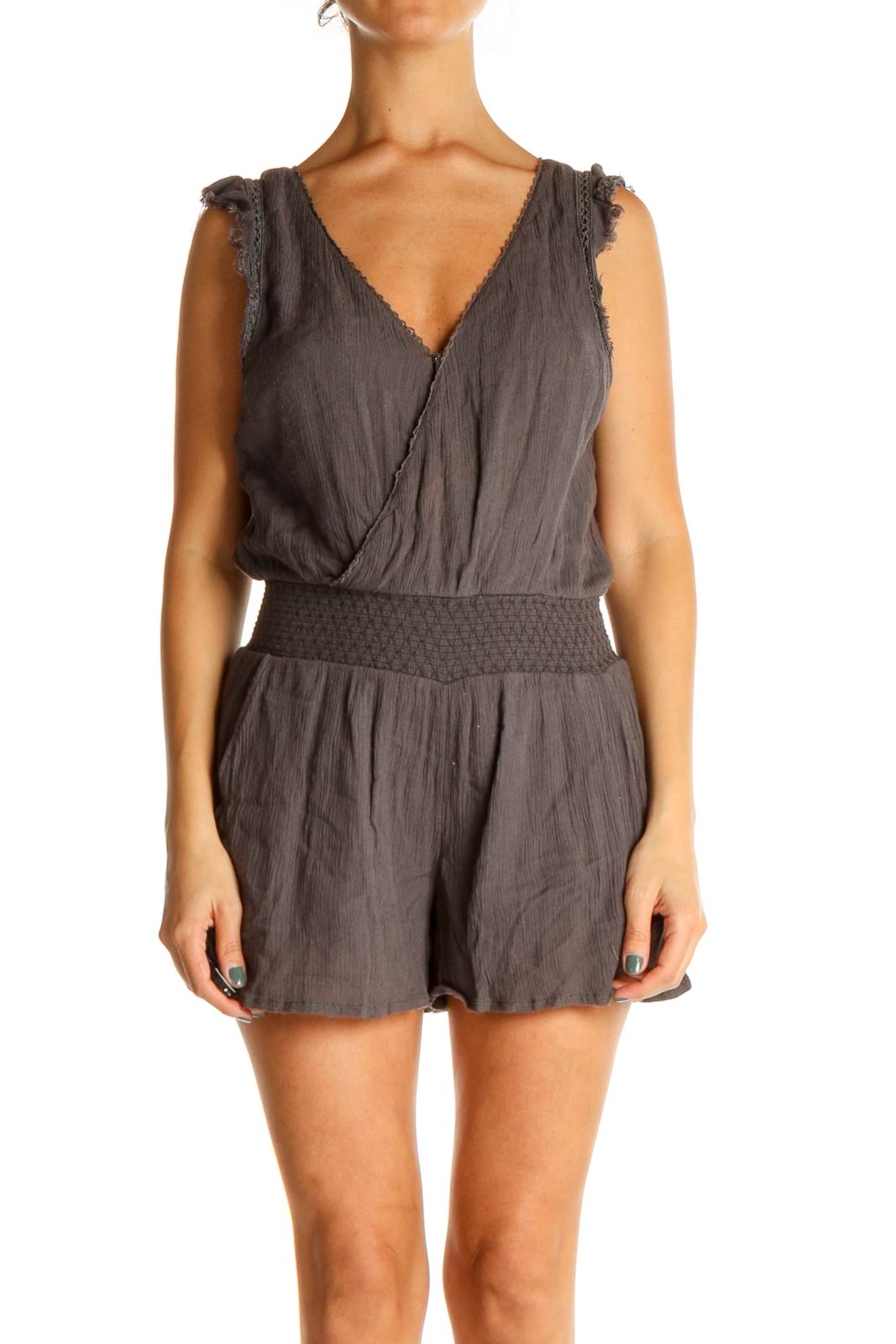 Gray Solid Romper Front