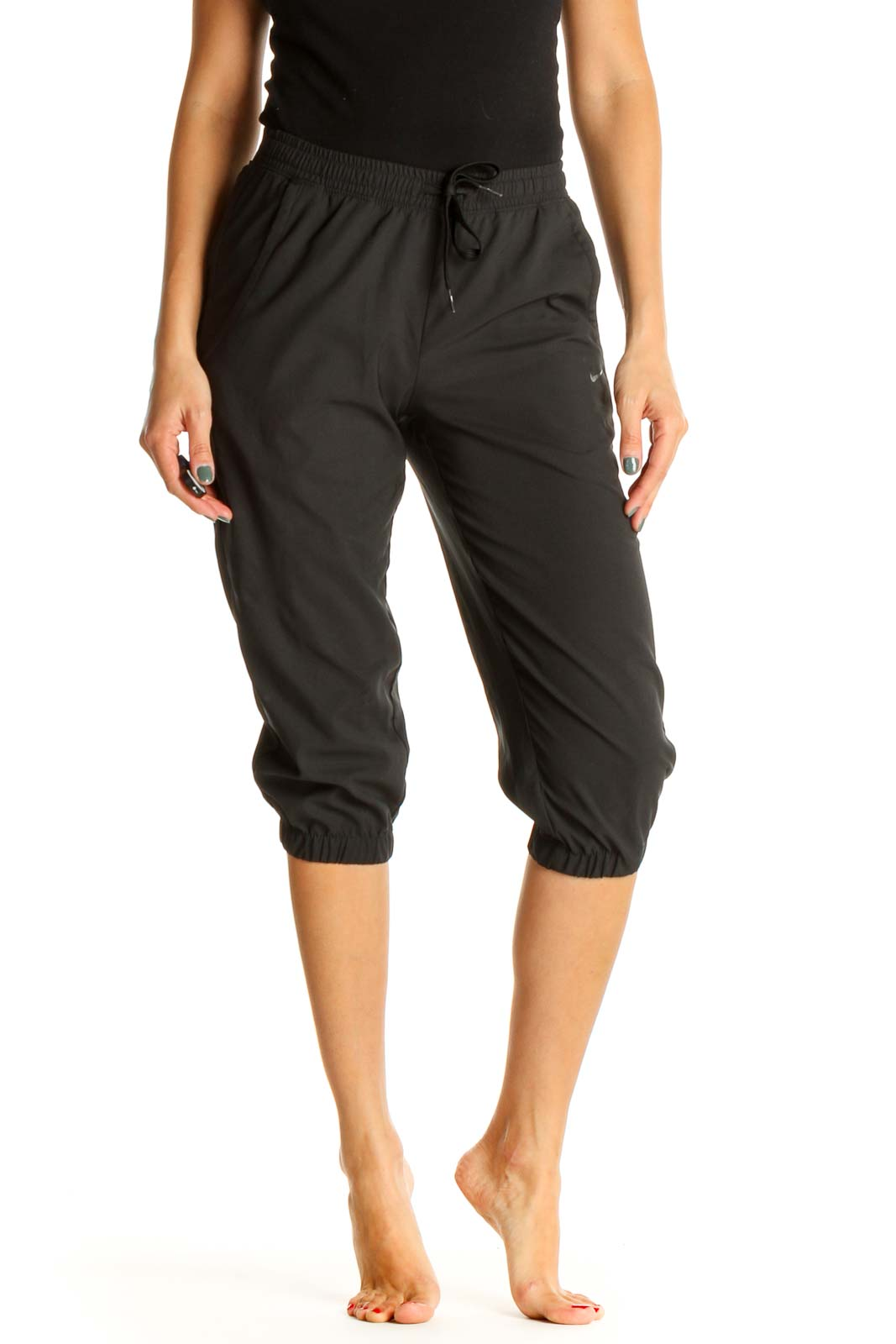 Black Solid Casual Sweatpants Front
