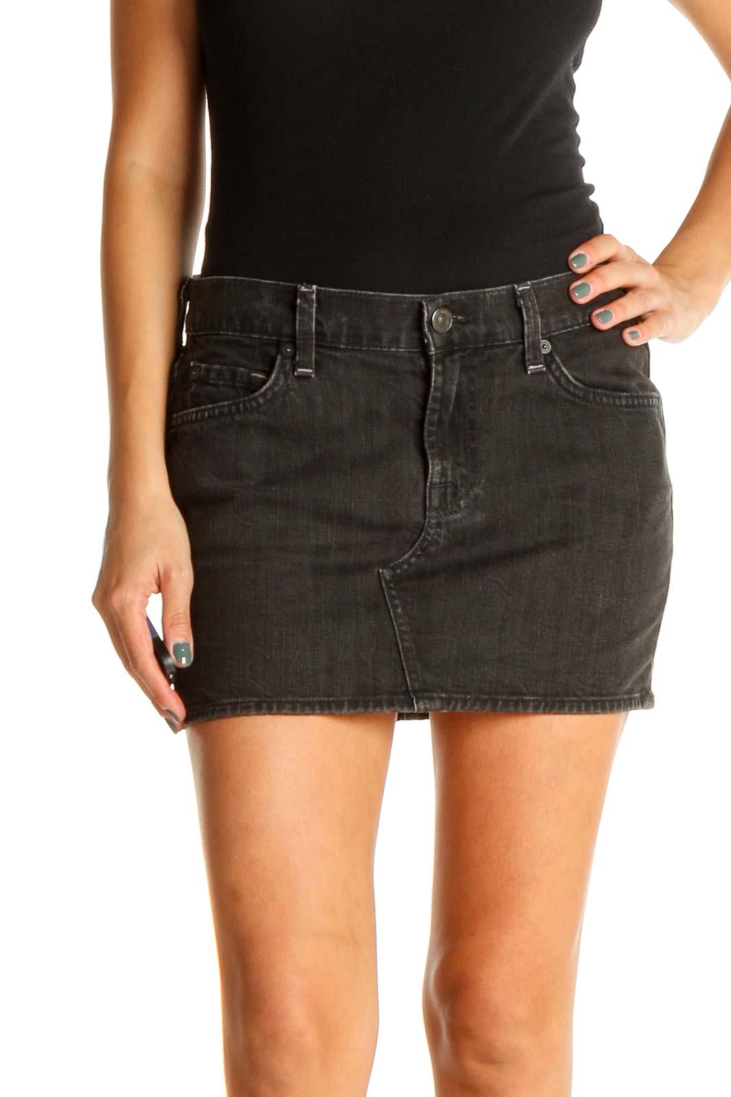 Black Chic Denim Mini Skirt Front