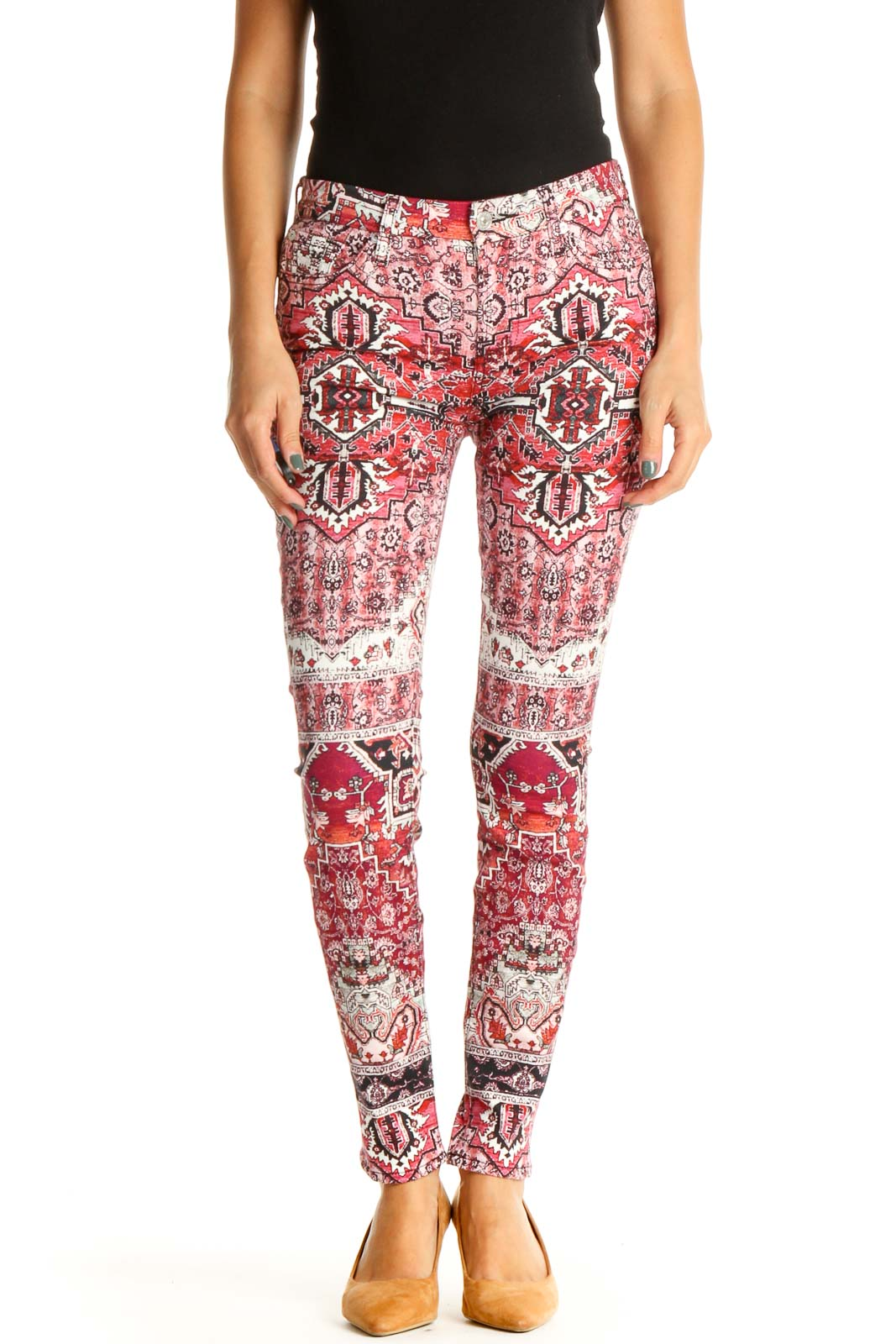 Pink Printed All Day Wear Skinny Pants Front