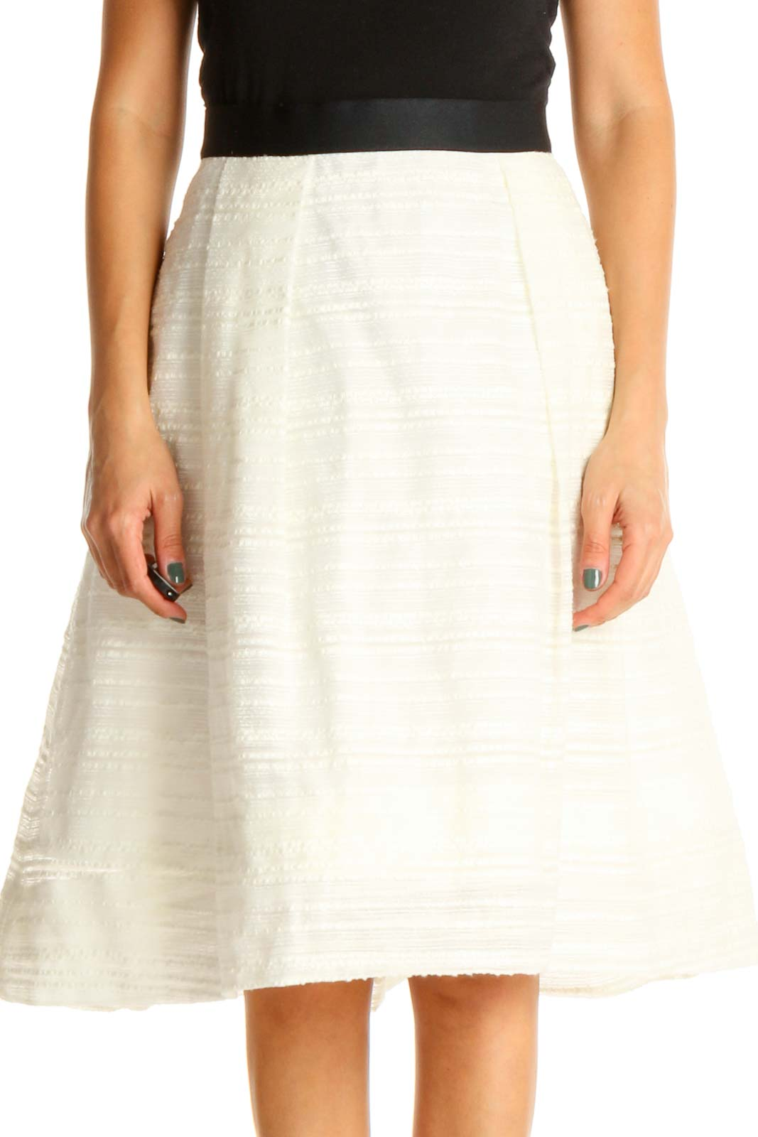 White Brunch A-Line Skirt Front