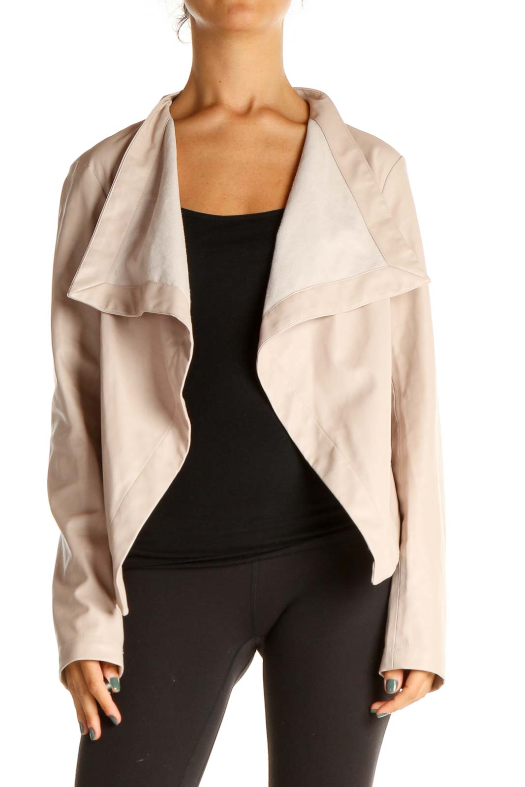 Pink Pleather Motorcycle Jacket Front