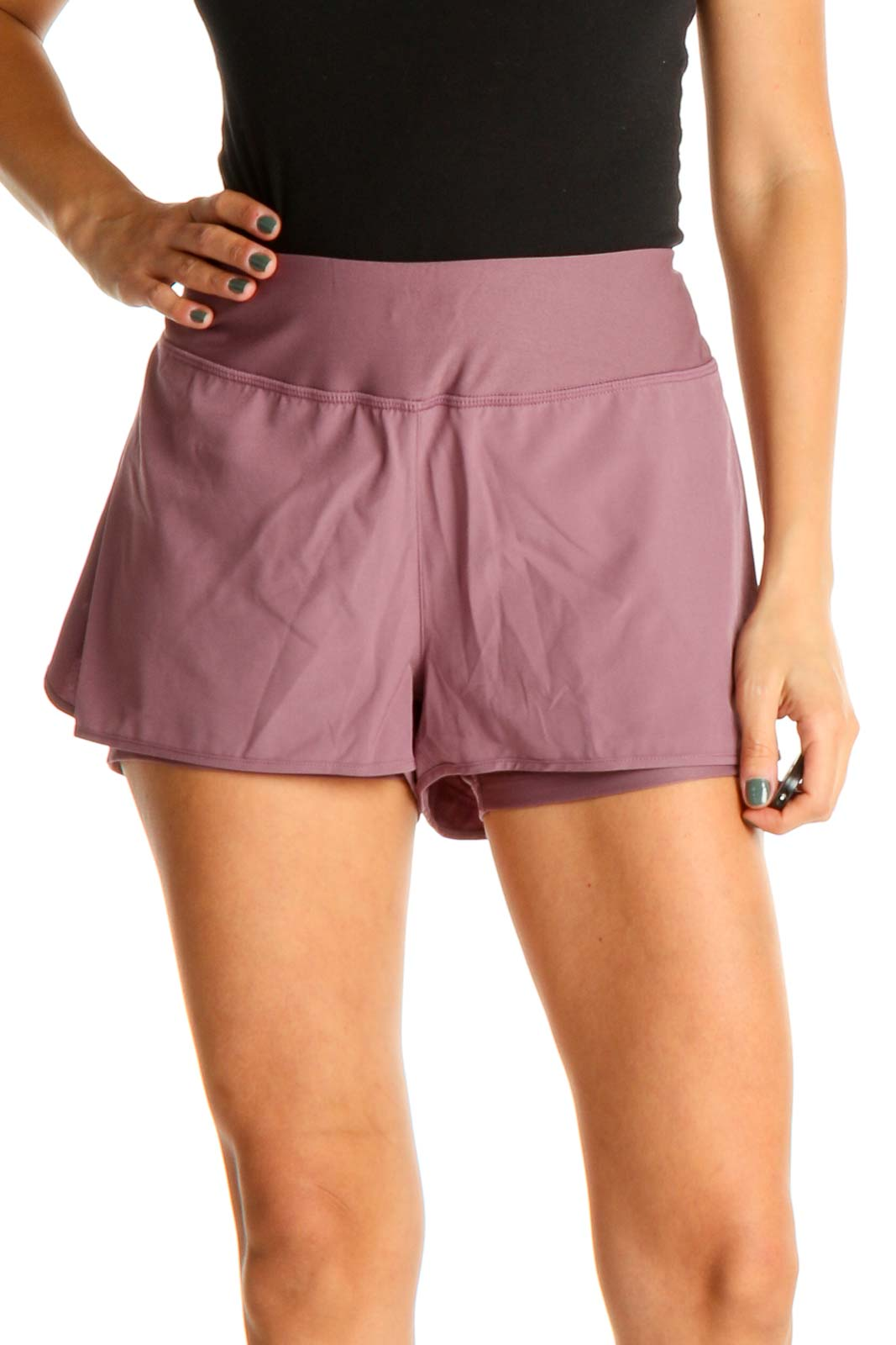 Pink Solid Activewear Shorts Front