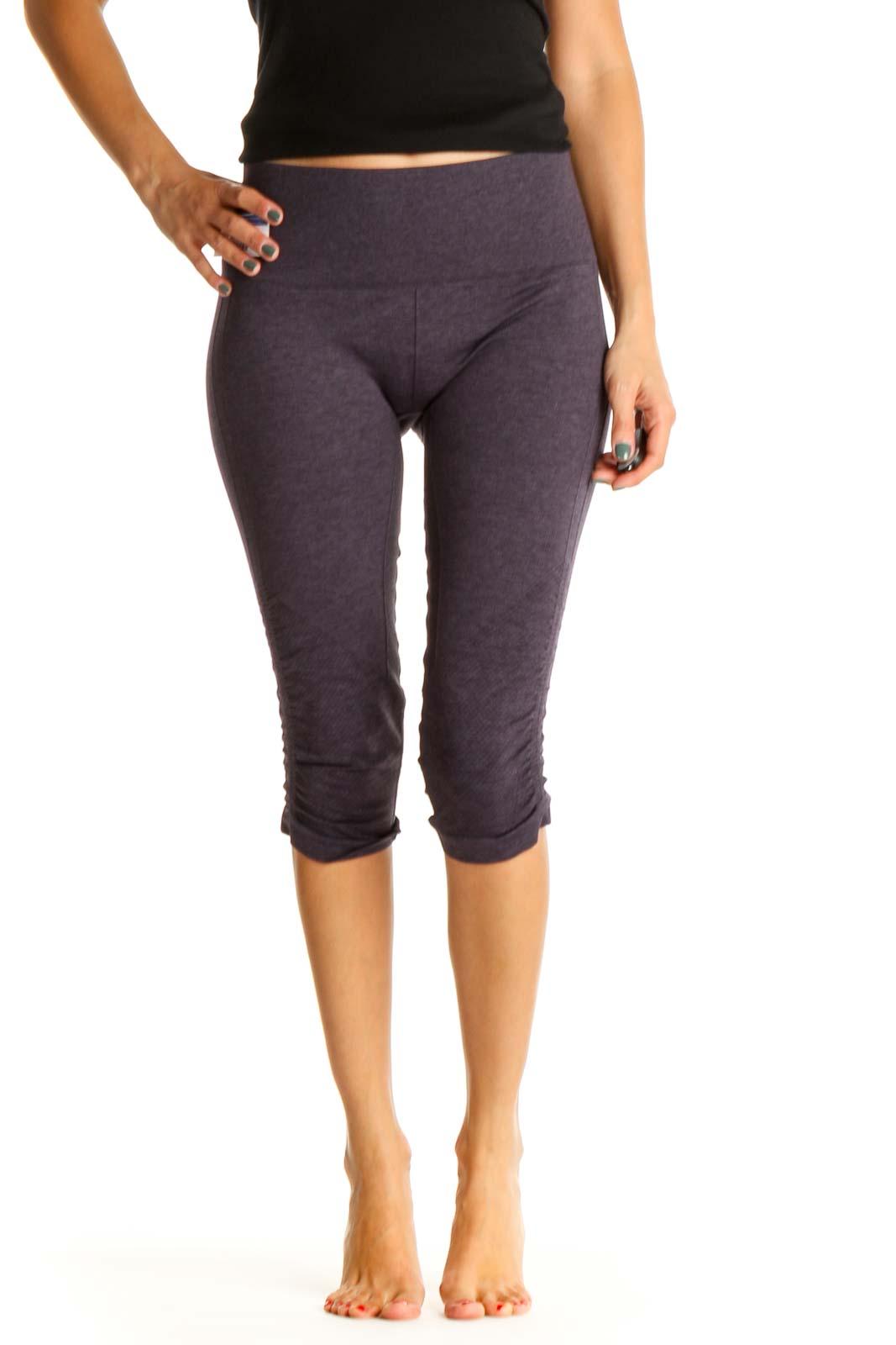 Purple Textured Activewear Leggings Front